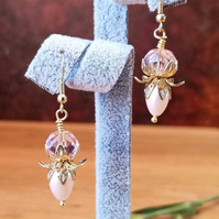 Pink Shell Pearl and Czech Crystal Earrings