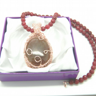 Ruby Quartz Wireweaved Cabochon Pendant Necklace