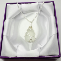 Seaglass White Wirewrapped Pendant Necklace Silverplated Chain