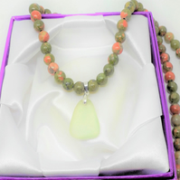 Sea Glass Pale Green Pendant Unakite Beads Necklace