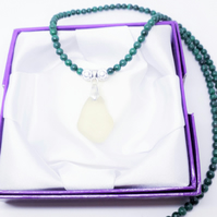 Sea Glass Pale Green Pendant Malachite Beads Necklace