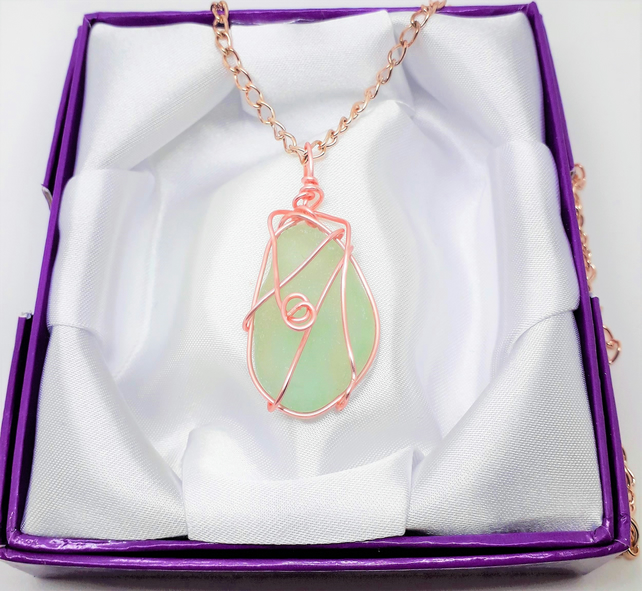 Pale Green Seaglass Wirewrapped Pendant Necklace