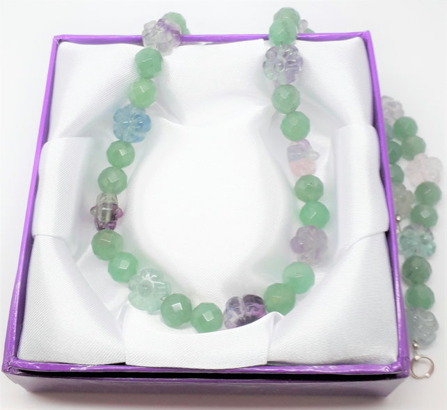 Fluorite Flowers and Jade Beads Necklace