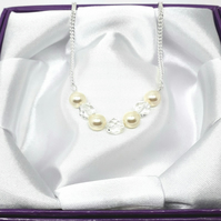 Swarovski Crystal Pearls and Crystals Necklace