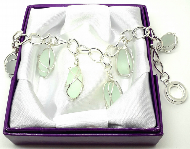 Wirewrapped Green Seaglass Charms Bracelet