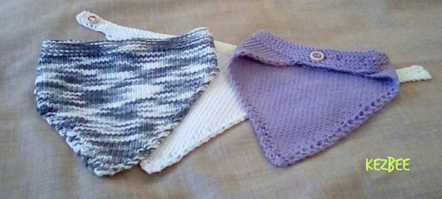 set of 3 hand knitted dribble bibs