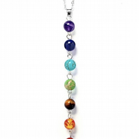7 Chakra Necklace with stones - silver