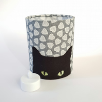 Black Cat Silhouette Lantern with LED candle and heart print fabric