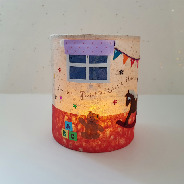 """Rock-a-bye Playroom"" Picture Lantern (No.3) - mixed media collage"