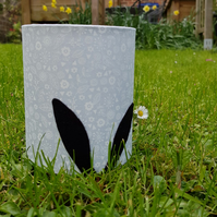 Black Rabbit Ears Silhouette Lantern with LED candle (Grey & White Floral)