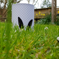 Black Rabbit Ears Silhouette Lantern with LED candle (Grey & White Dot Fabric)