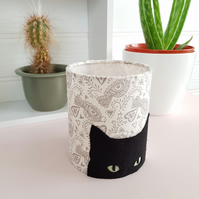 Black Cat Silhouette Lantern with LED candle and Scandi style fabric