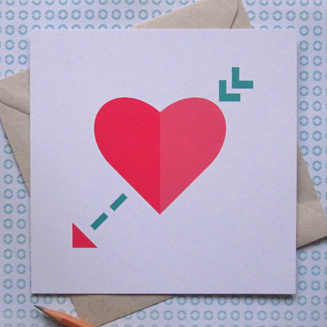 Cupid's Arrow Card - left blank for your own unique message