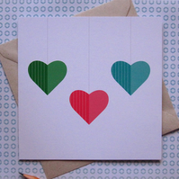 Triple Heart Card - left blank for your own unique message