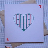 Ups and Downs Valentine's Card - left blank for your own unique message