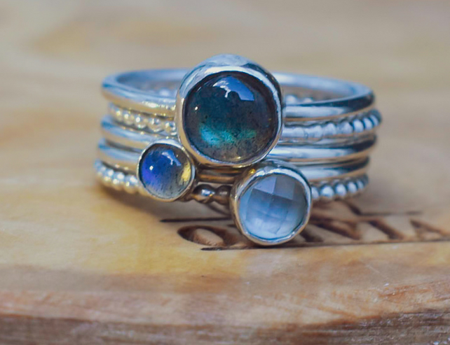 Stacking Ring Set, Argentium Silver, Labradorite, Sky Blue Topaz