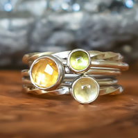 Stacking Ring Set, Argentium Silver, Peridot, Citrine & Lemon Quartz