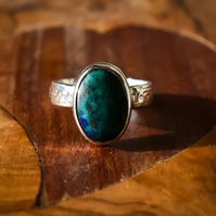 Natural Chrysocolla Ring, Sterling Silver