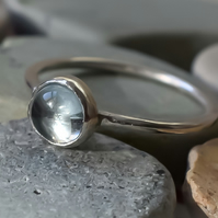 Blue Topaz Stacking Ring, Argentium (Sterling) Silver