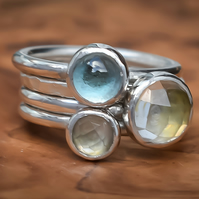 Stacking Ring Set, Argentium Silver, Quartz Crystal, Blue Topaz, Prasiolite.