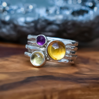 Stacking Ring Set, Argentium Silver, Citrine, Amethyst, Lemon Quartz