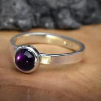 Amethyst Stacking Ring, Argentium (Sterling) Silver