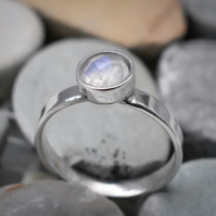 Moonstone Stacking Ring, Argentium (Sterling) Silver