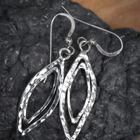 Argentium (Sterling) Silver Earrings, Hammered Argentium Silver