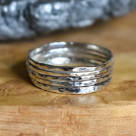 Set of Five Silver Rings, Argentium Silver