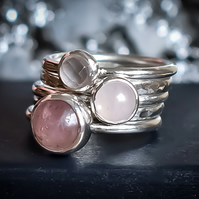 Stacking Ring Set, Argentium Silver, Rose Quartz, Strawberry Quartz,