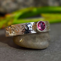 Celtic Sterling Silver Ring, Rhodolite Garnet Ring, Handmade Gemstone Ring.