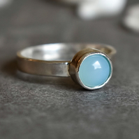 Blue Agate Ring, Argentium Silver Ring