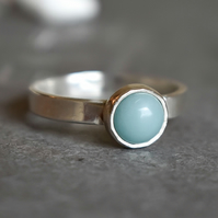 Amazonite Silver Ring, Argentium Silver Ring
