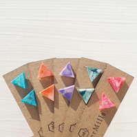 Colourful Triangle Marbled Resin Earrings