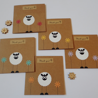 Thank You Cards - Pack Of Sheep Thank You Note Cards - Sheep Thank You Notelets