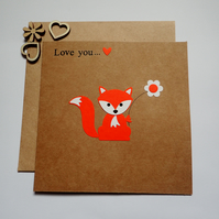 Fox Love You Card - Birthday Card - Foxes - Anniversary Card - Valentines Card