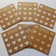Thank You Cards - Pack Of Heart Thank You Cards - Heart Thank You Notelets