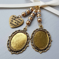 "Wedding Bouquet Charm Photo Charm Double Oval Gold Locket ""always in my heart"""