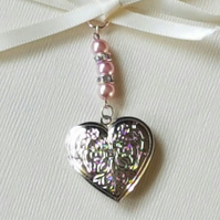 Wedding Bouquet Charm Heart Shaped Embossed Silver Locket Pendant