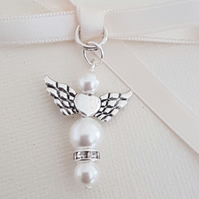 Wedding Bouquet Charm Angel, White pearls, and Organza gift bag