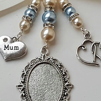 "Bouquet Charm, Photo Frame Locket, Silver locket, Double Heart, and ""Mum"" Charms"