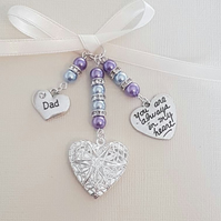"Wedding Bouquet Charm Silver Filigree Locket, ""always in my heart"" & ""dad"" charm"