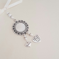 "Wedding Bouquet Charm, Bouquet Round Silver Locket,  ""Always in my heart"" & ""nan"