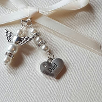 "Wedding Bouquet Charm Angel, and ""Dad"" Charm with White pearls and organza gift"