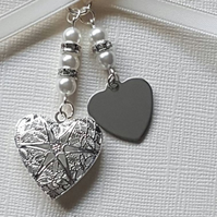 Wedding Bouquet Charm, Filigree Silver Locket, your choice of words heart charm