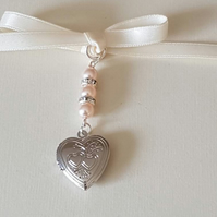 Wedding Bouquet Photo Charm Silver heart Bouquet Locket Memory locket