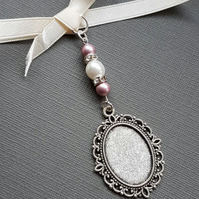 Wedding Bouquet Charm Bouquet locket Photo Frame Oval Silver Locket