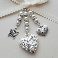 "Wedding Bouquet Charm, Filigree Silver Locket, butterfly and ""Dad"" charm,"