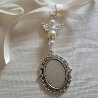 Wedding Bouquet Charm Bouquet locket Angel Charm Oval Silver Locket