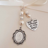 "Wedding Bouquet Charm Photo Charm  Silver Locket,""you are always in my heart"""